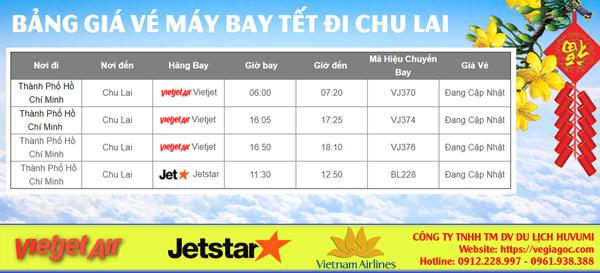 Bảng giá vé máy bay Tết đi Chu Lai