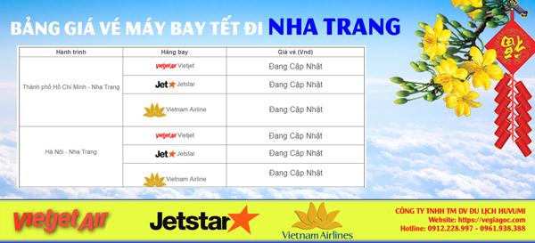 Bảng giá vé máy bay Tết đi Nha Trang