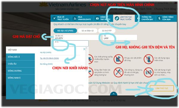 Trang web checkin online của Vietnam Airlines