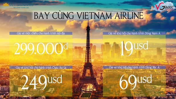 Vé máy bay Vietnam Airlines khuyến mãi chỉ từ 299000 ngàn đồng nội địa