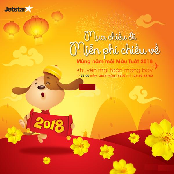 Mua Vé Máy Bay Chiều Đi Miễn Phí Chiều Về mừng năm mới Mậu Tuất 2018