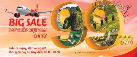 VietJet Air khuyến mãi vé máy báy nội địa giá chỉ từ 99 ngàn
