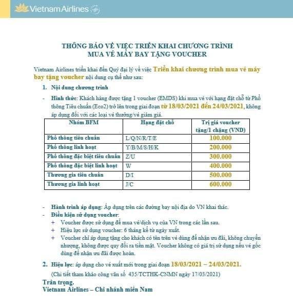 Vietnam airlines mua vé máy bay tặng ngay Voucher