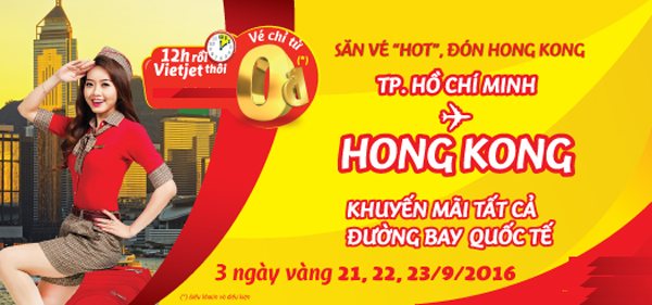 Vé máy bay khuyến mãi đi Hong Kong giá 0 đồng